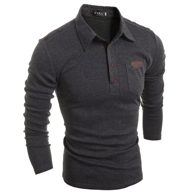 Polo shirt Fashion Men Polo shirt Solid Color Long-Sleeve Slim Fit Shirt Men Cotton polo Shirt Size M-XXL Tops Tees DM#6