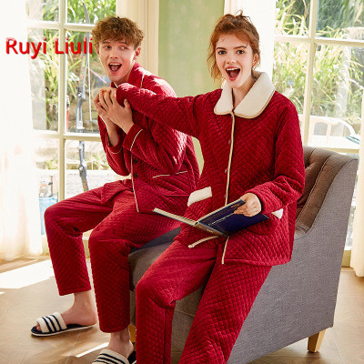 New Pair Pajamas Coral Fleecy Cotton Added Thick Red Wedding Wedding Happy Home Wear Two Sets-RY
