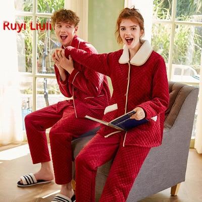 Новая пара пижам кораллового цвета из ворсистого хлопка, плотная красная Свадебная Домашняя одежда, два комплекта-RY