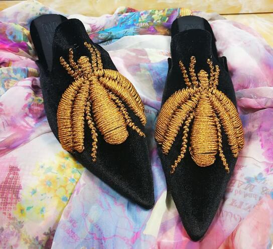 Oro Il Velluto Di Dolce 2019 Suola Nero Nuove Modello Seta Primavera Cuoio Cucitura Carpaton Reale Casuali Appartamenti Indiano Pantofole Signore WHnX0wY6q