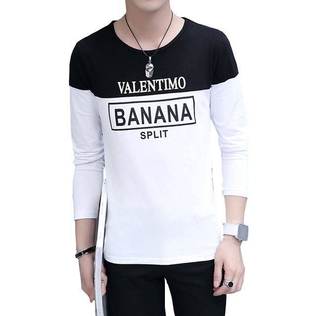 192f9cfe1c0 Letter Printed Harajuku T-shirt Men Summer Plus Size Patchwork Black Tops  Slim Fit Long Sleeve Shirt Cotton Casual Basic T-shirt
