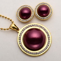 Necklace earrings sets women stainless steel jewelry gifts antique gold & silver plated W crystal JN53 wholesale dropship