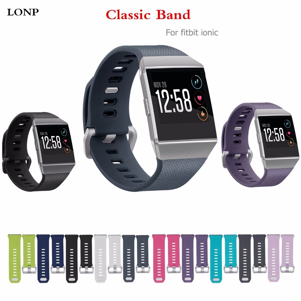 Classic Sport Watch Strap For Fitbit Ionic Band Smartwatch Sport Silicone Bracelet wrist belt Replacement wristband+metal buckle фен elchim 3900 healthy ionic red 03073 07