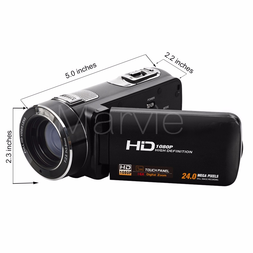 "Marvie FHD Camcorder True 1080p @ 30fps Max 24.0 MP Full Color Screen For Low light 3.0"" Touch Screen 16x Zoom DV Recorder 5"