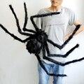 Suave Negro Araña de Peluche Juguete Divertido Atrezzo Horror Scary Ojos Rojos para la Decoración de la Etapa Del Partido de Halloween Broma Broma Juguetes Scary