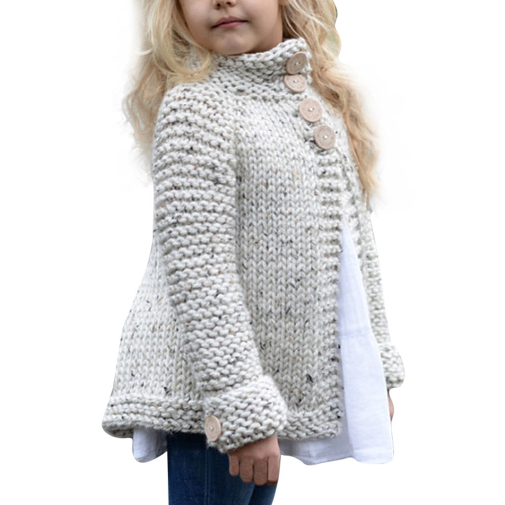 Girl's plain-coloured knit sweater cardigan Toddler Kids Baby Girls Outfit Clothes Button Knitted bobo choses winter 2018 men button decoration plain tee