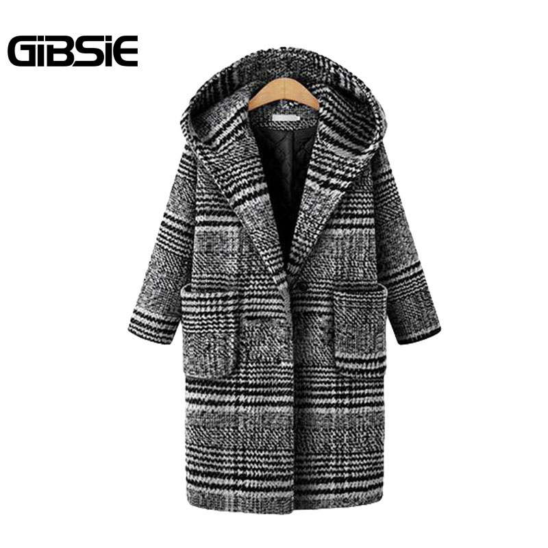 GIBSIE New Plaid Tweed Winter Coat Women Hooded Casual Thick Long ...