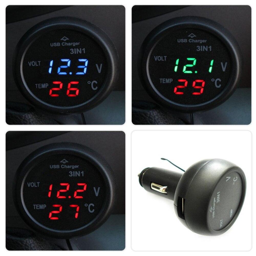 3 in 1 Digital LED car Voltmeter Thermometer Auto Car USB Charger 12V 24V Temperature Meter Voltmeter Cigarette Lighter