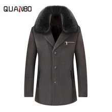 QUANBO Brand Clothing New Winter Cold and warm men's plus velvet thick woolen coat Big fur collar casual woolen Jacket daddy(China)