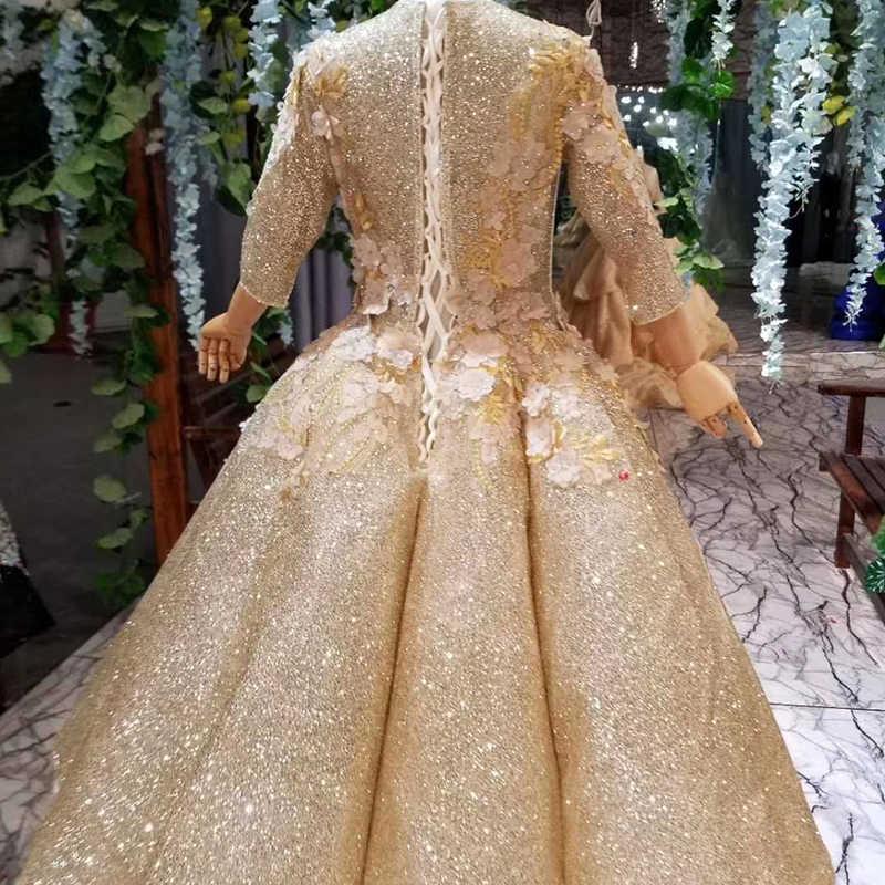 HTL0542 роскошное платье для причастия с блестящими золотыми цветами бальное платье мусульманские пышные платья для девочек платье для первого причастия