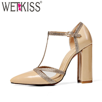 WETKISS T Strap Stitching Women Sandals Pointed Toe Buckle Square Heels Footwear 2018 New Summer Fashion