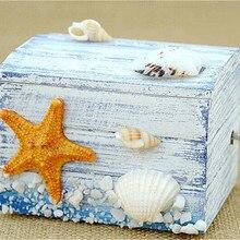Starfish Shell Beach Classic Clockwork Wooden Music Box Cast