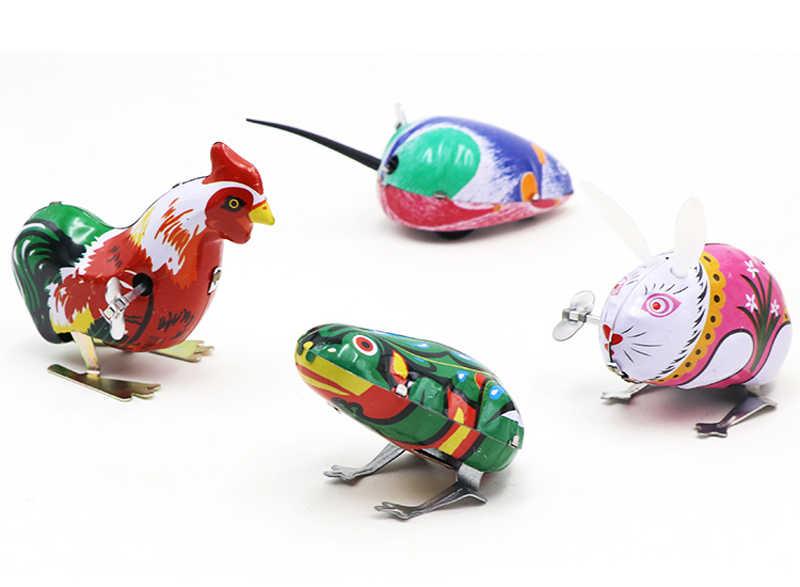 Детские Классические оловянные заводные игрушки прыгающая лягушка мышь кролик петух винтажная игрушка Новые Фигурки игрушки для детей GYH