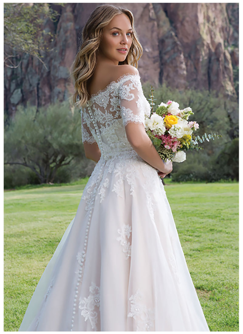 SoDigne 2019 Wedding dress Off The Shoulder Bride Dresses Short Sleeves Beads Crystal Beach Bride Dresses Buttons Back in Wedding Dresses from Weddings Events