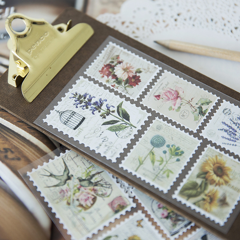 3 Sheets Vintage Stamp Label Paper Sticker Diy Scrapbooking Diary Planner Decoration Sticker Album