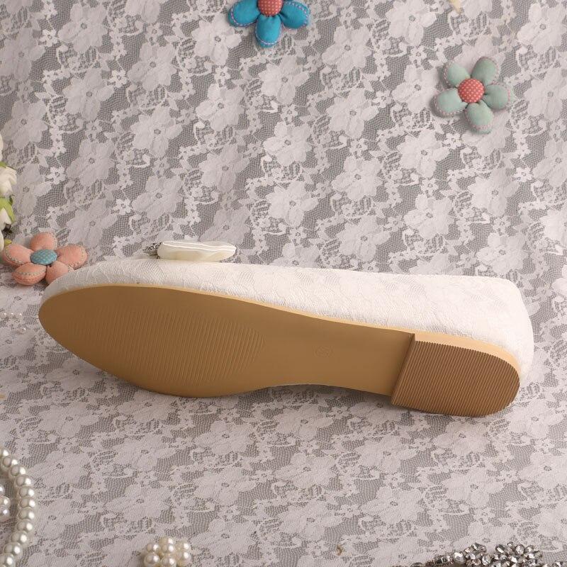 Ballet Chaussures Ivory Dentelle blanc Orteil Appartements Ivoire Mariée Pour Femmes De Fermé Mariage La nxz1I6nr