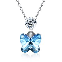 INALIS 2018 New 925 Stering Silver Necklace Crystals from Swarovski Butterfly Pendant Necklaces for Beatiful Women Girls Jewelry