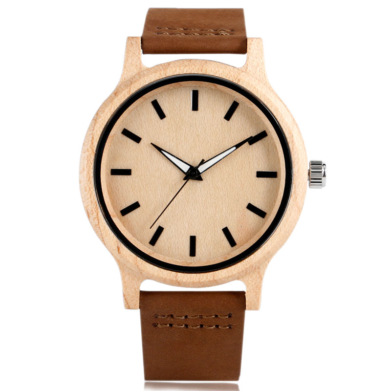 Wood Men Watch Genuine Leather Band Sport Wrist Watch Nature Wood Bamboo Men Women Quartz Minimalist Analog Sport Clock Gift