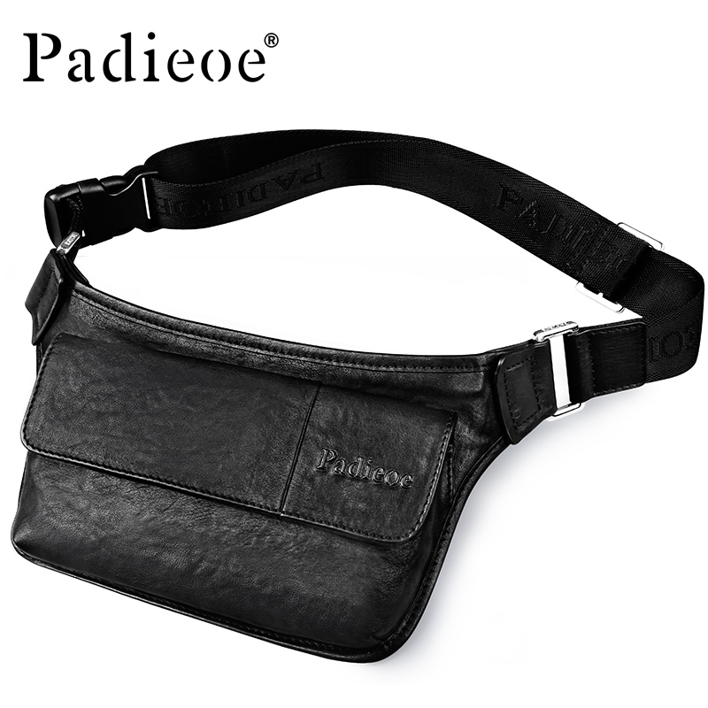 Padieoe Genuine Leather Men's Fanny Pack Handbag High Quality Waist Bag For Money Phone Fashion Casual Adjustable Strap Belt Bag