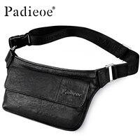Padieoe Genuine Leather Men's Fanny Pack Handbag High Quality Waist Bag for Money Phone Fashion Casual Adjustable Strap Belt Bag