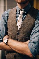 2019 Vintage Brown tweed Vests Wool Donegal custom made Mens suit tailor slim fit Blazer wedding suits for men plus size