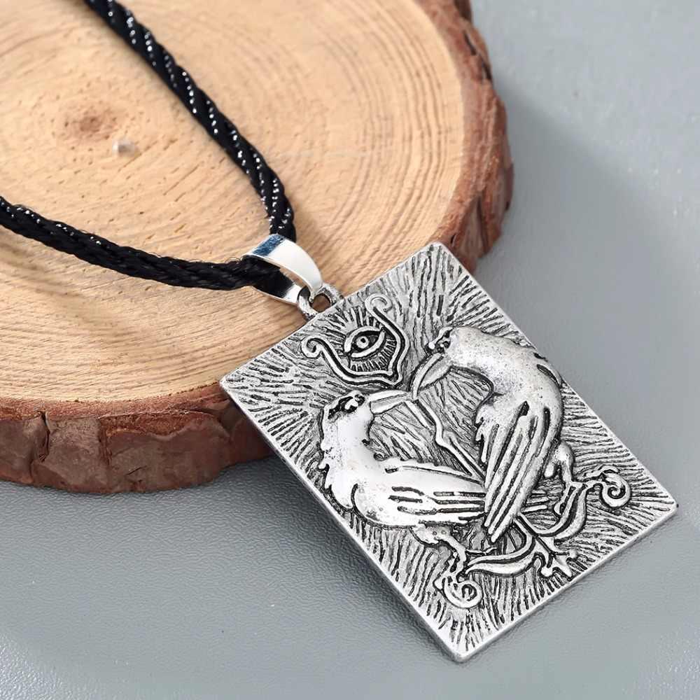 סמל של גברים CHENGXUN ויקינגים Valknut הנורדית אודין Huginn Munin רייבנס עין שרשרת התליון וינטג שרשרת חבל זכר קולייר