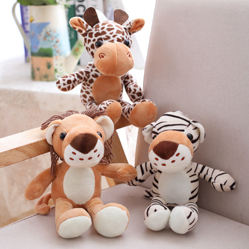 1pc 20cm Forest Animals Stuffed Doll Plush Jungle Series Animal Lion Tiger Leopard Giraffe Toys Kids Gift