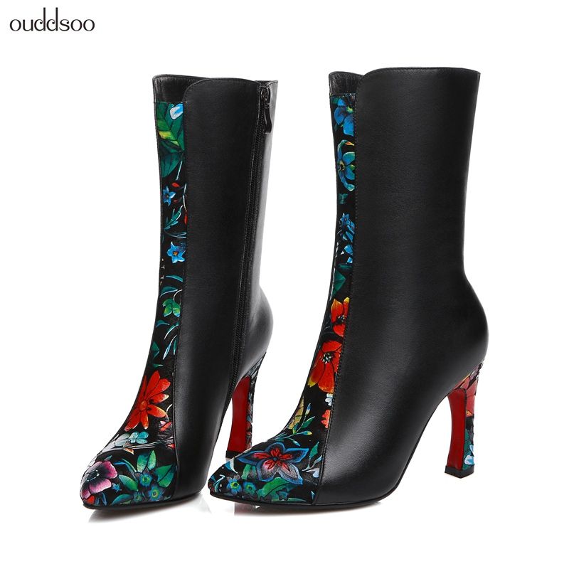 2018 Elegant Thin heels Mid Calf Boots Genuine Leather Embroider For Women Autumn Winter Fashion Shoes Woman Black Short Boots memunia 2018 half boots for women spring autumn mid calf boots fashion elegant pu nubuck leather shoes woman party flock