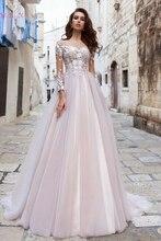 A Line Three Quarter Sleeve Wedding Dresses 2019 Illusion Appliques Lace With Tulle Bridal Gowns Elegant Summer vestido de noiva