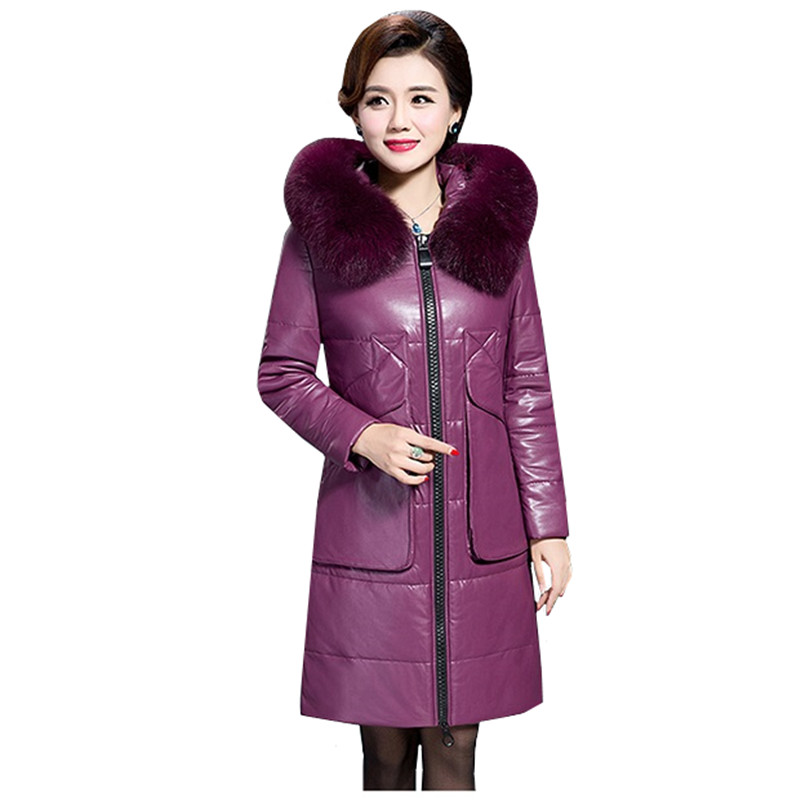 Plus size 6XL Fur collar Long   Leather   Coat 2019 Winter Women's Faux   Leather   Down jacket Female Fashion Hooded warm   Leather   Coats