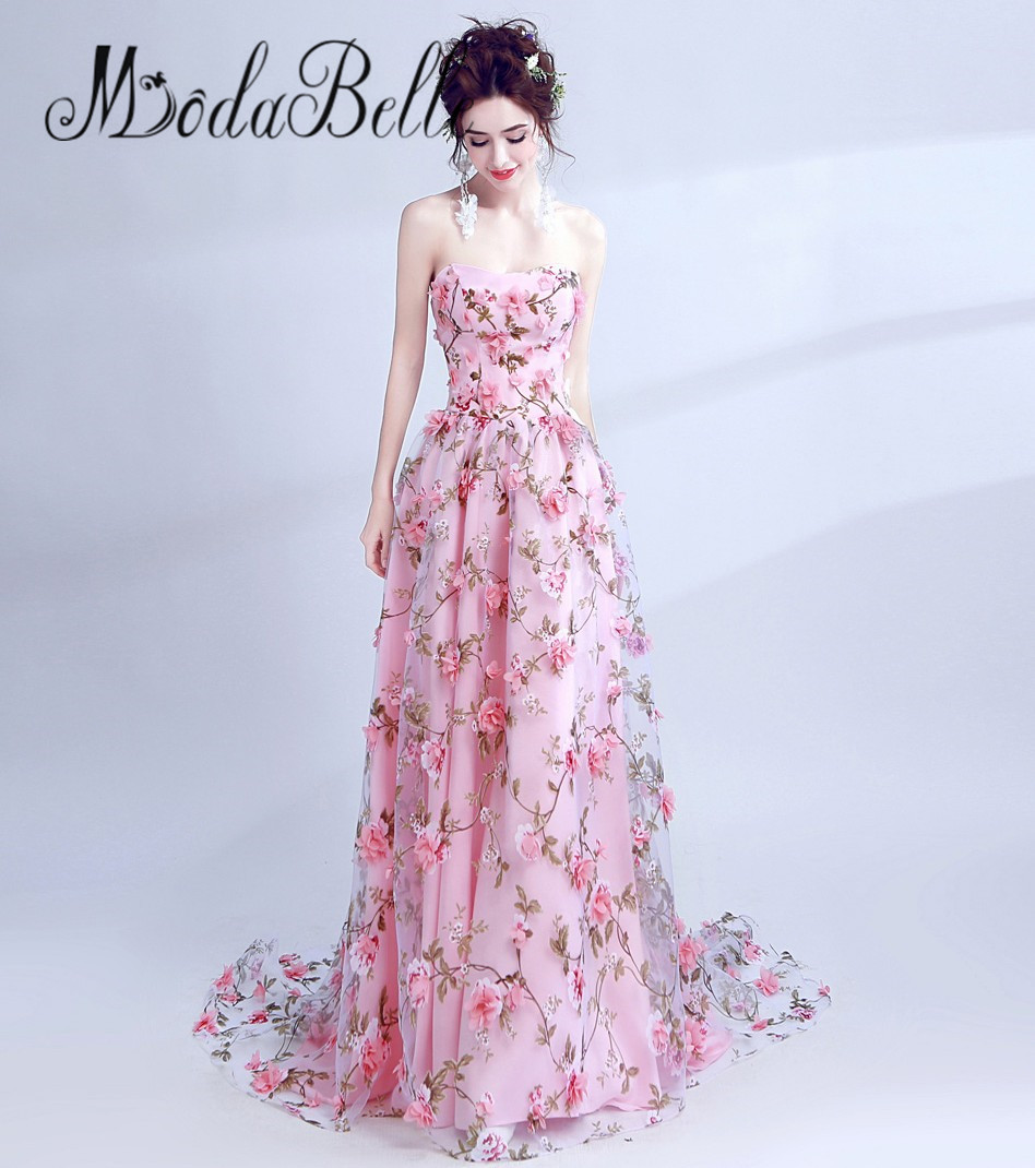 Aliexpress Buy Modabelle Elegant Pink Flower Evening Dress 3d