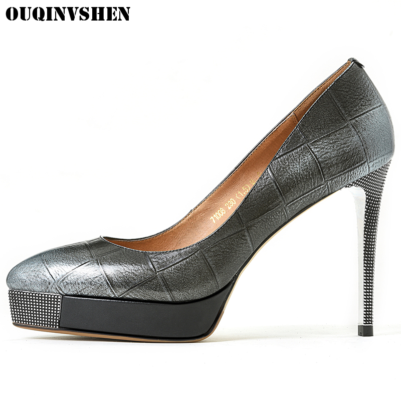 OUQINVSHEN Pointed Toe Pumps Shallow Thin Heels Woman Pumps Casual Fashion Ladies Single Shoes Stiletto heel Extreme High Heels ouqinvshen pointed toe high heels bling shallow women pumps new thin heels single shoes casual fashion stiletto heel high heels
