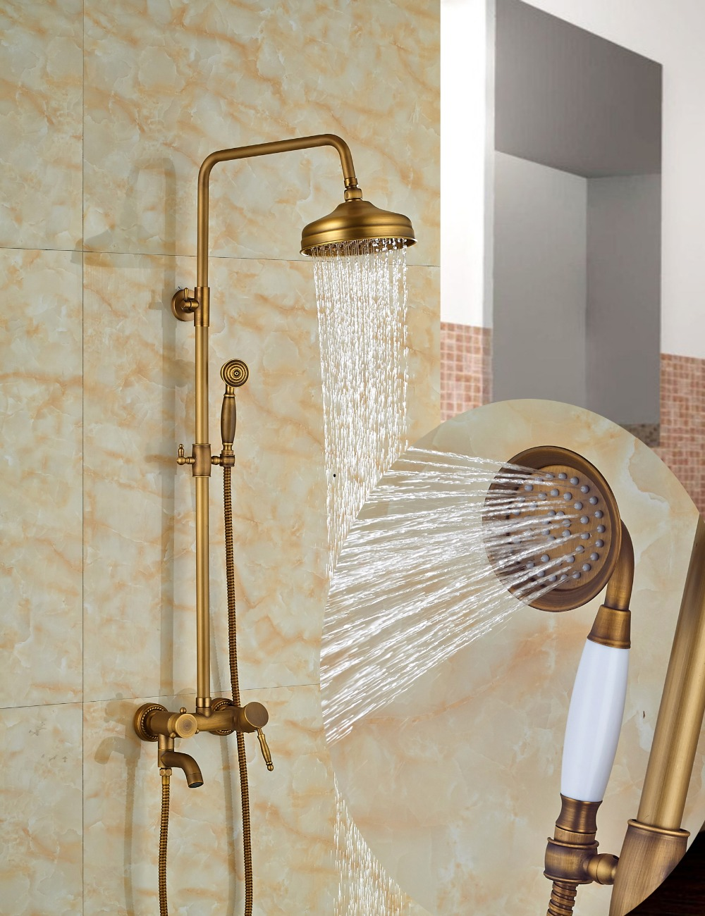 Wholesale And Retail Wall Mounted Round Rain Shower Faucet Set Tub Spout Mixer Tap Antique Brass Shower Sprayer