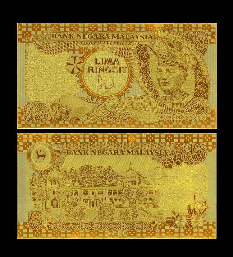 New 24K  Gold Foil Banknote And Crafts Plated Malaysia 5 Ringgit Customized Feng Shui Vintage Home Decor For Business Gift