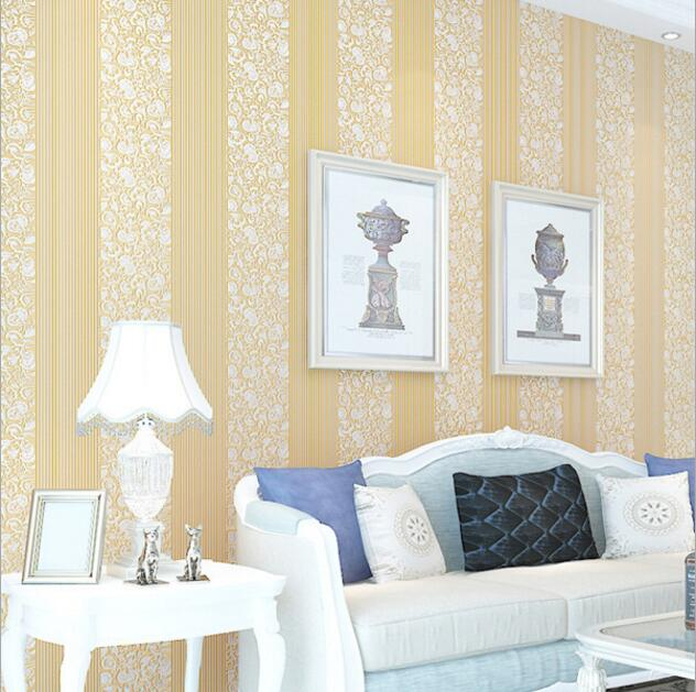 Free Shipping Modern 3D Striped Floral Embossed Bedroom Wallpaper Roll Soundproof  Wall Paper/TV Sofa