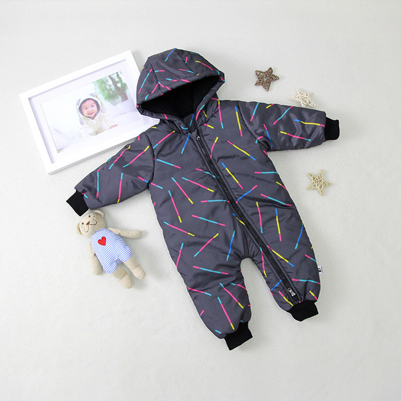 все цены на Winter Baby Romper Newborn Baby Long Sleeve Parka Jumpsuit Boys Girls Winter Warm Pullover Romper D0434