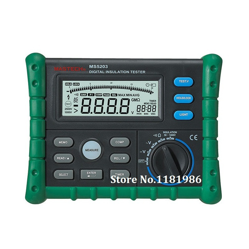 Mastech MS5203 Digital Megger Insulation Tester Resistance Meter Tecrep 10G 1000V AC/DC Voltage Continuity Electrical Test  цены