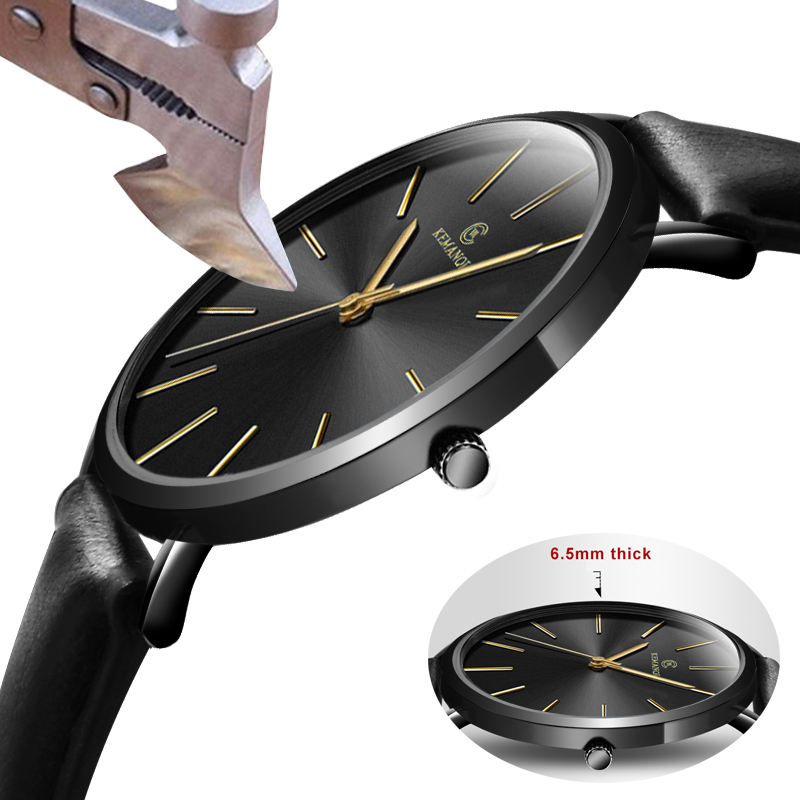 Fashion KEMANQI Watches 6.5mm Ultra-thin Men's Watch 2019 Simple Business Men Quartz Watches Male Clock Relogio Masculino