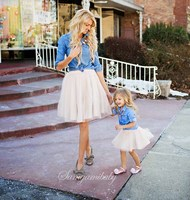 Mother Daughter Dresses Family Matching Clothes Suit Denim Shirt Skirts 2pcs Mommy And Me Sets Two