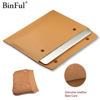 Binful Premium Real Ultrathin Genuine Leather Envelope Sleeve Bag Case Cover Pouch 13.3'' for MacBook Air 11 12 13 15 Retina