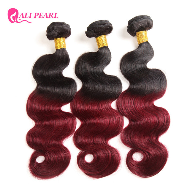 Alipearl Hair Black And Burgundy Bundles Ombre Brazilian Hair Weave