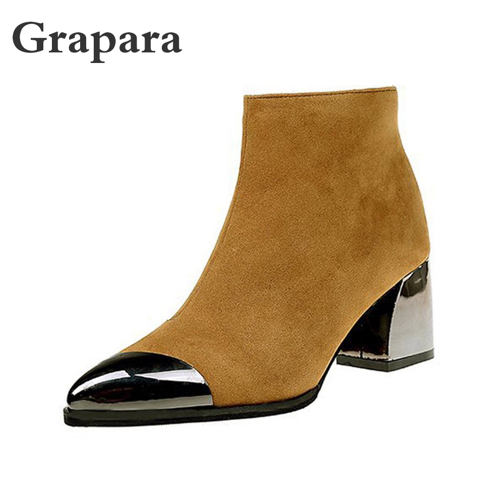 Metal Decoration Women Boots <font><b>2018</b></font> <font><b>Sexy</b></font> Black <font><b>Shoes</b></font> Woman Pointed Toe Square Heel High Spring <font><b>Shoes</b></font> Work Zip Zapatos Mujer Grapra image