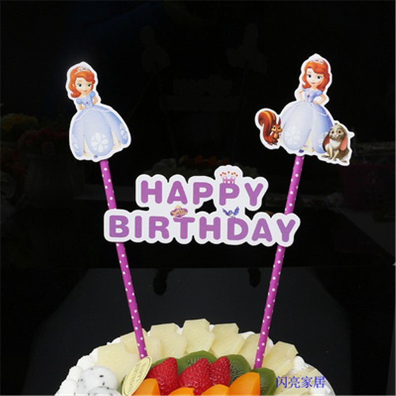 princess party decorations sophia princess cupcake toppers kids children birthday supplies sofia happy birthday cake topper flag in Cake Decorating Supplies from Home Garden