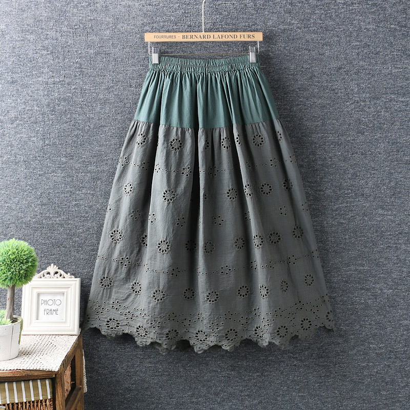 vintage cotton hollow out embroidery Elastic waist skirt mori girl 2018 spring