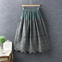 Vintage cotton hollow out embroidery Elastic waist skirt mori girl 2020 spring