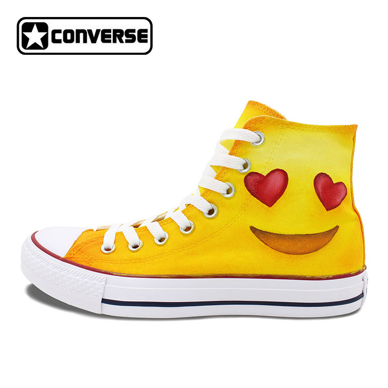 Design Converse Chuck Taylor Shoes Men Women Skateboarding Shoes Hand Painted Emoji High Top Canvas Sneakers