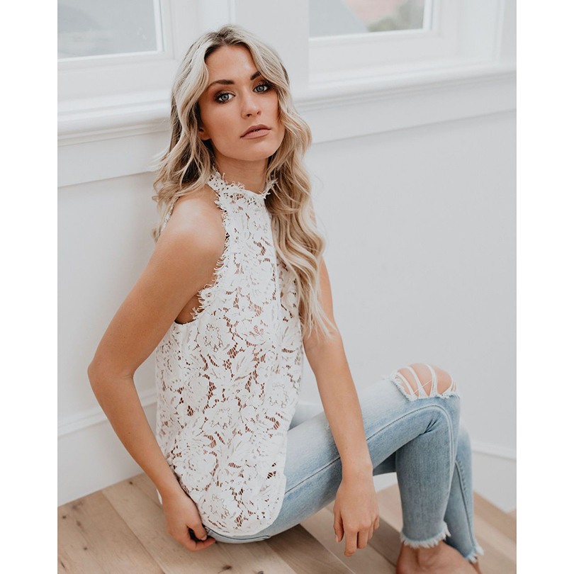 Elegant Floral Lace   Blouse     Shirt   Women Sleeveless White   Blouse   Spring Summer Hollow Out Tops   Blouse   Blusas