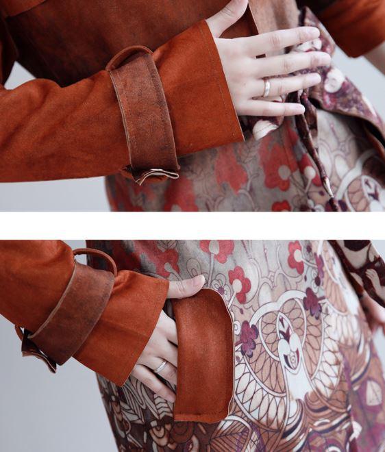 Tranchée Vintage Coat Trench Coupe Ardoisé Daim 2018 Femelle Pour Longs Manteaux La Long vent Imprimé 3xl Rouge Manteau À Taille Plus Manches corail Longues Femmes Automne xvIqwq