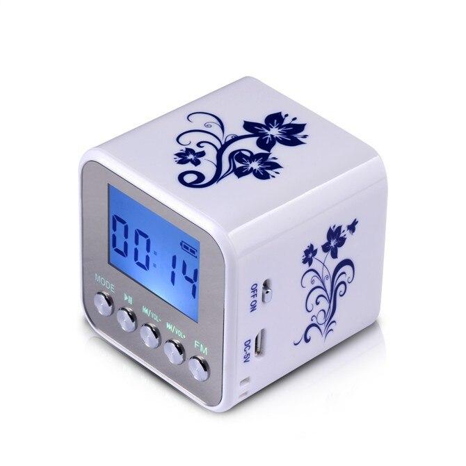 TT032 Mini Portable digital FM radio portable radios support SD card speaker USB MP3 Players with clock TT032R