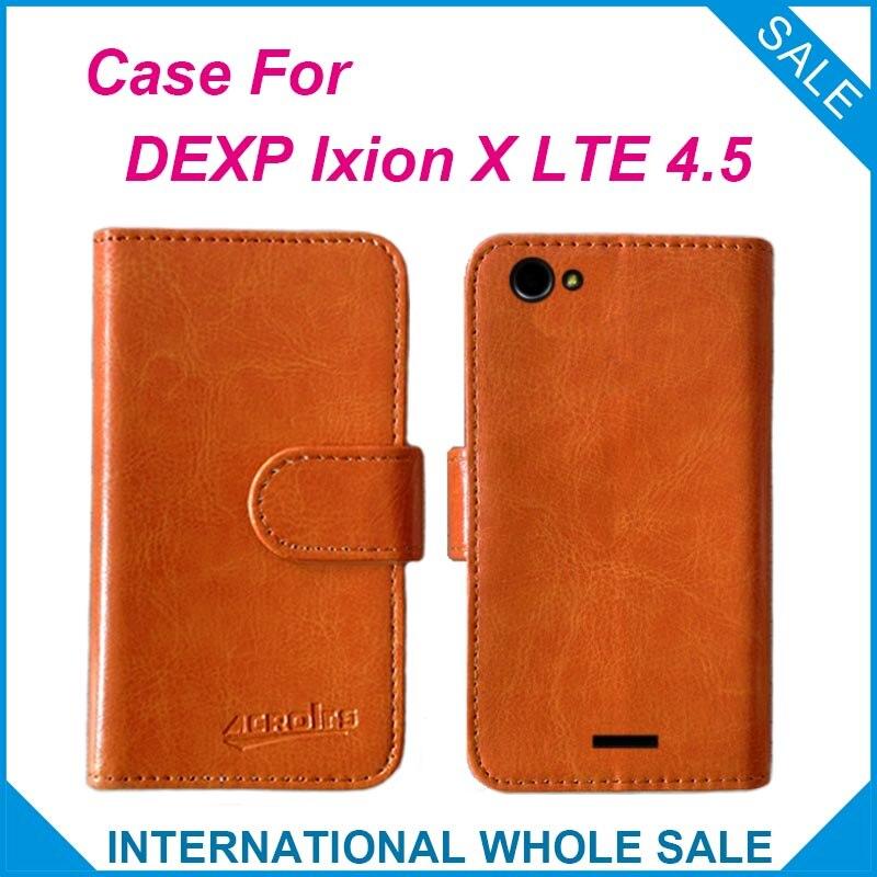 8433b94532b Caliente! 2016 dexp Ixion x LTE 4.5 caso de precio de fábrica de alta  calidad de cuero cubierta exclusiva Flip para dexp Ixion X LTE 4.5  seguimiento